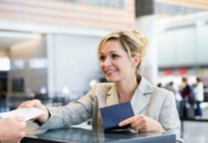 business woman receive airline tickets
